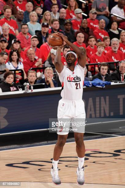 Noah Vonleh of the Portland Trail Blazers shoots the ball against the Golden State Warriors in Game Three of the Western Conference Quarterfinals of...