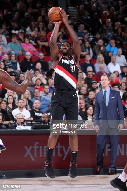 Noah Vonleh of the Portland Trail Blazers shoots the ball against the Sacramento Kings on November 18 2017 at the Moda Center in Portland Oregon NOTE...