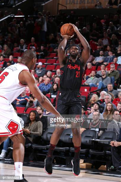Noah Vonleh of the Portland Trail Blazers shoots the ball against the Chicago Bulls on January 31 2018 at the Moda Center in Portland Oregon NOTE TO...