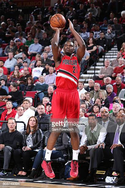 Noah Vonleh of the Portland Trail Blazers shoots the ball during the game against the Los Angeles Clippers on January 6 2016 at the Moda Center in...