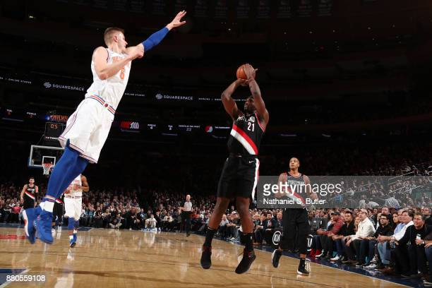 Noah Vonleh of the Portland Trail Blazers shoots the ball during the game against the New York Knicks on November 27 2017 at Madison Square Garden in...