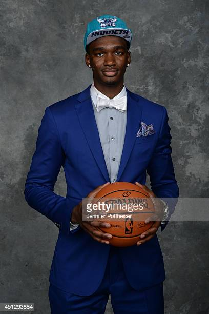 Noah Vonleh the 9th pick overall by the Charlotte Hornets poses for a portrait during the 2014 NBA Draft at the Barclays Center on June 26 2014 in...