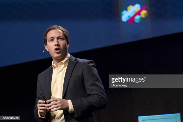 Noah Weiss head of search learning and intelligence for Slack Technologies Inc speaks listens during an event in San Francisco California US on...