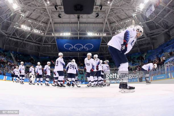 Noah Welch of the United States reacts after being defeated 32 by the Czech Republic in the overtime penaltyshot shootout during the Men's Playoffs...