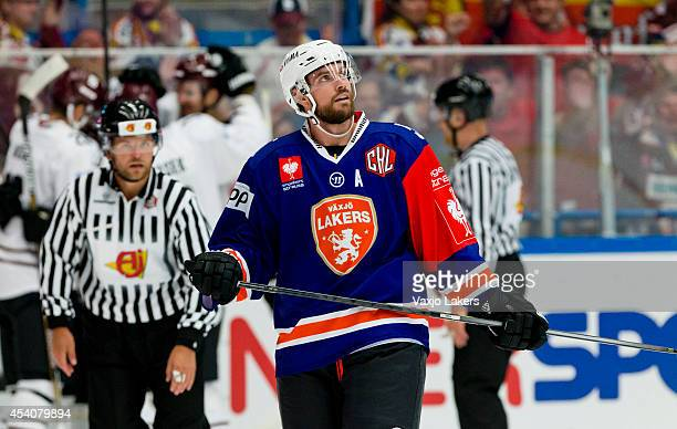 Noah Welch of Växjö Lakers shows his dejection after the 2-4 goal during the Champions Hockey League group stage game between Vaxjo Lakers and Sparta...