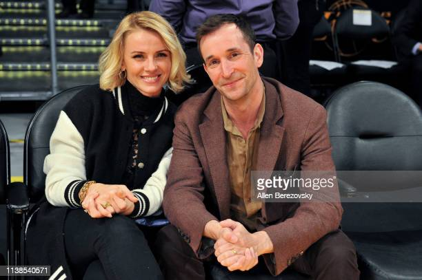 Noah Wyle and Sarah Wells attend a basketball game between the Los Angeles Lakers and the Washington Wizards at Staples Center on March 26, 2019 in...