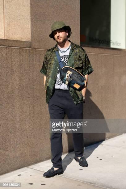 Noah Zagor is seen on the street attending Men's New York Fashion Week wearing Dries Van Noten, N.Hoolywood, 1800Dead Feelings, Masterpiece, on July...