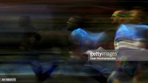 NoahLyles and Ameer Webb , both of the USA and Ramil Guliyev of Turkmenistan compete in the 200m Mens Final during the AG Memorial Van Damme...