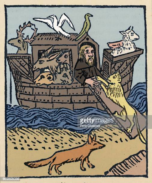 Noah's Ark' Illustration from Caxton's Golden Legend From The English Bible by Sir Herbert Grierson [Collins London 1947] Artist William Caxton