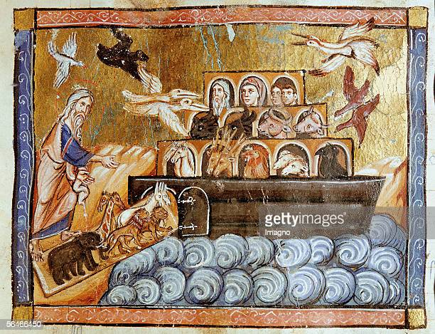 Noah's Ark Illustration from 'Histoire Universelle en Francais de la Creation du Monde jusqu'a Cesar' Painted by an anonymous monk between 12601270...