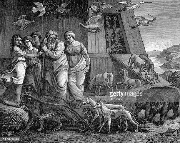 Noah's Ark Noah and the animals disembarking from the ark