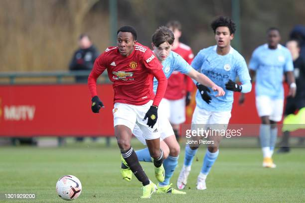 Noam Emeran of Manchester United U18s in action during the U18 Premier League match between Manchester United U18s and Manchester City U18s at Aon...