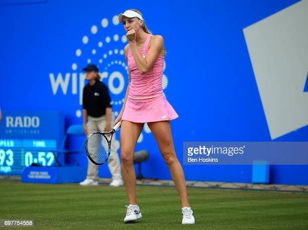 Noami Broady of Great Britain celebrates winning a point during the first round match against Alize Cornet of France on day 1 of the Aegon Classic...