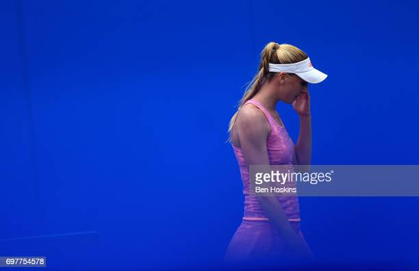 Noami Broady of Great Britain reacts during the first round match against Alize Cornet of France on day 1 of the Aegon Classic Birmingham at...