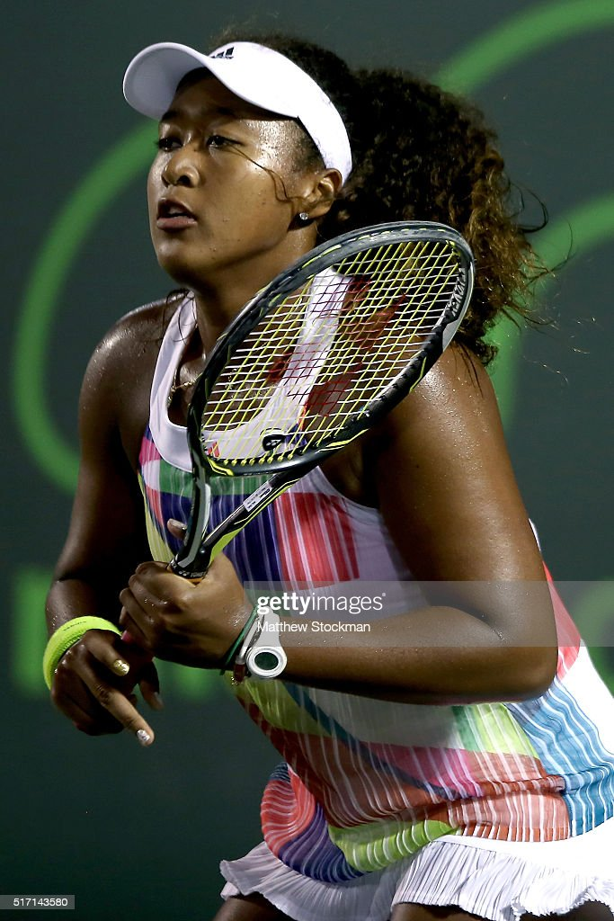 Noami Osaka of Japan plays Pauline Parmentier of France during the Miami Open presented by Itau at Crandon Park Tennis Center on March 23, 2016 in Key Biscayne, Florida.