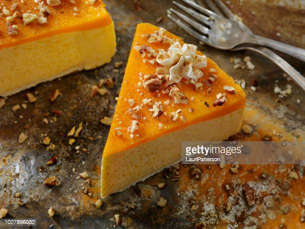 no-bake pumpkin spice cheesecake with shortbread crust - pumpkin stock pictures, royalty-free photos & images