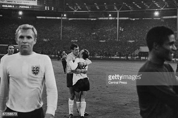 Nobby Stiles and Gordon Banks celebrating Englands 21 victory over Portugal in the 1966 World Cup semi final at Wembley 27th July 1966 Captain Bobby...