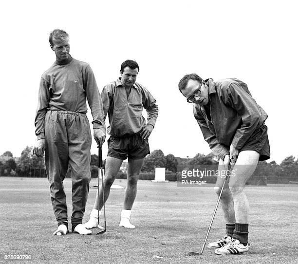 Nobby Stiles, the Manchester United wing-half, concentrates hard during a putting session at the Bank of England Sports Club ground, Roehampton,...