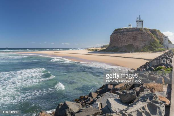 nobbys head in newcastle, australia - newcastle new south wales stock pictures, royalty-free photos & images