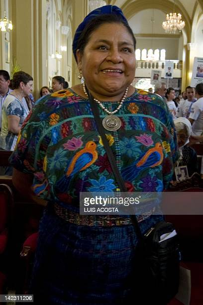 Nobel 1992 Peace Prize Laureate Rigoberta Menchu attend a mass at the cathedral of Villavicencio on April 1 2012 Helicopters provided by Brazil are...