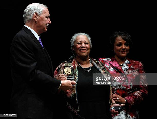 Nobel and Pulitzer Prize winning author Toni Morrison is presented the Carl Sandburg Literary Award by Jim Tyree and Cheryl Mayberry McKissack during...