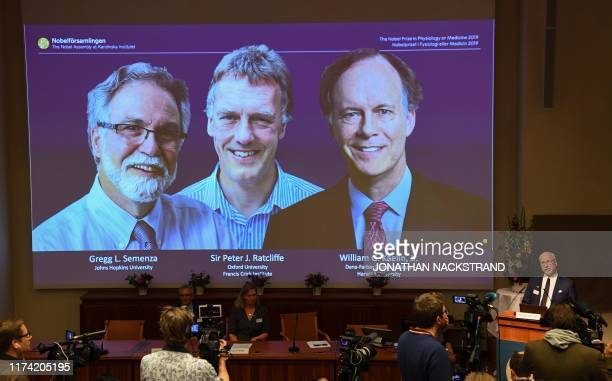 TOPSHOT Nobel Assembly member Randall Johnson speaks to announce the winners of the 2019 Nobel Prize in Physiology or Medicine Gregg Semenza of the...