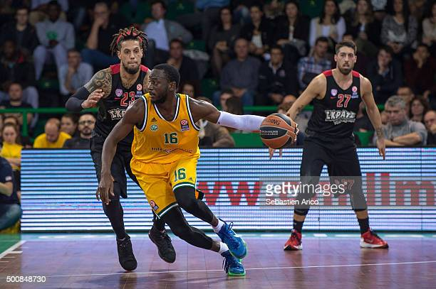 Nobel BoungouColo #16 of Limoges CSP in action during the Turkish Airlines Euroleague Basketball Regular Season Round 9 game between Limoges CSP v...