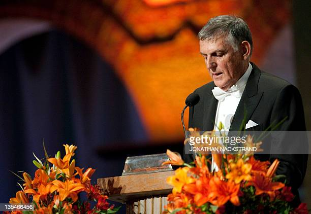 Nobel Chemistry laureate Dan Shechtman of Israel delivers a speech at the Nobel banquet held at the Stockholm City Hall on December 10 2011 AFP...
