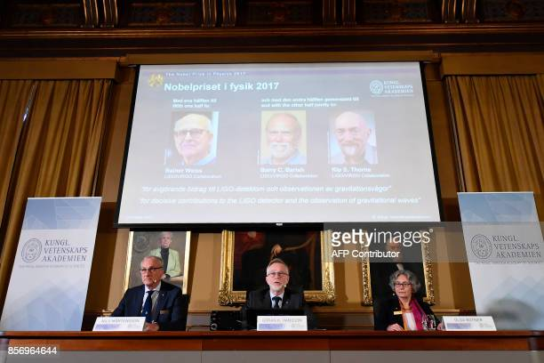 Nobel Committee for Physics members chairman Professor Nils Martensson Goran K Hansson Secretary General of the Royal Swedish Academy of Sciences and...