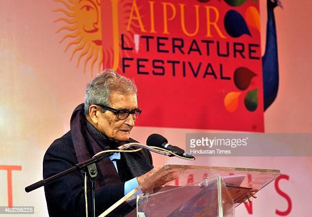 Nobel laureate Amartya Sen at the inaugural ceremony of the Jaipur Literature Festival at Diggi Palace on January 17 2014 in Jaipur India The Jaipur...