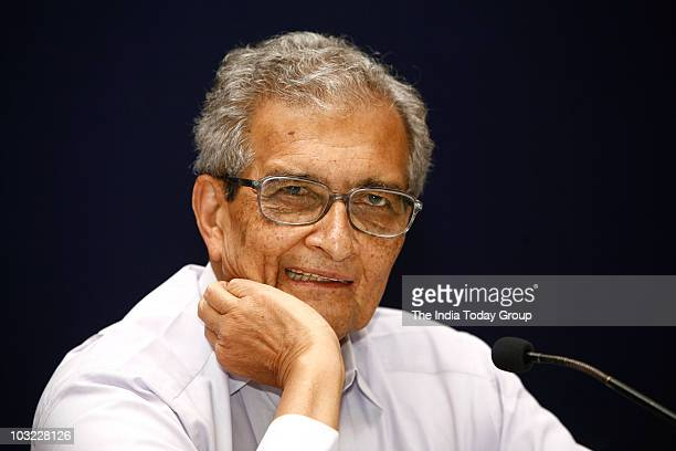 Nobel laureate Amartya Sen attends the Nalanda Mentor Group meeting in New Delhi on Tuesday August 3 2010
