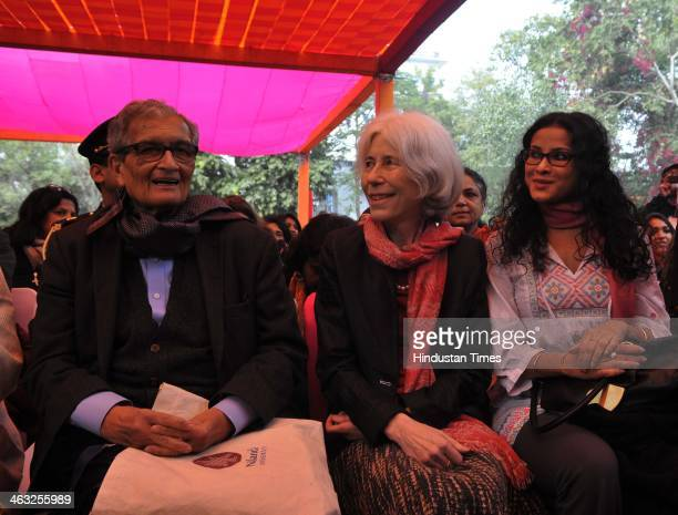 Nobel laureate Amartya Sen with his wife and daughter and actor Nandana Sen during the Jaipur Literature Festival at Diggi Palace on January 17 2014...