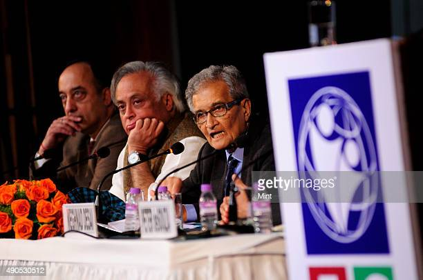 Nobel laureate and economist professor Amartya Sen with Jairam Ramesh Minister at Rural Development at the launch of the International Centre For...