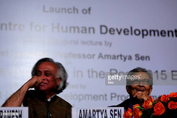 Nobel laureate and economist professor Amartya Sen with Jairam Ramesh Minister of Rural Development at the launch of the International Centre For...