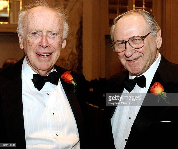 Nobel laureate Dr James D Watson stands with fellow Nobel prize winner William Safire at a gala February 28 2003 in New York City The gala was held...