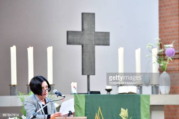 Nobel laureate Herta Mueller addresses a commemoration for late Chinese dissident and Nobel Peace Prize laureate Liu Xiaobo in Berlin on July 13 2018