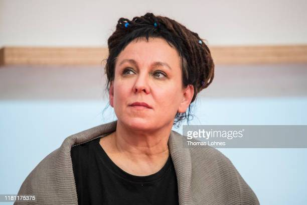 Nobel Laureate in Literature Olga Tokarczuk attends the opening press conference of the Frankfurt Book Fair on October 15 2019 in Frankfurt am Main...