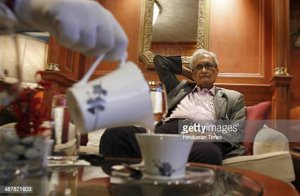 Nobel laureate Indian economist Prof Amartya Sen during the interview at Tajman Singh on May 1 2014 in New Delhi India The 80yearold Nobel prize...