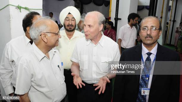 Nobel laureate Prof Roger D Kornberg Department of Structural Biology Stanford School of Medicine USA interacts with PGI Director Jagat Ram and...