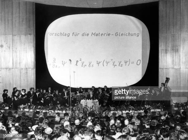 Nobel laureate Prof Werner Heisenberg during his celebratory speech on the occasion of the commemoration of the centenary recurrence of Max Planck's...