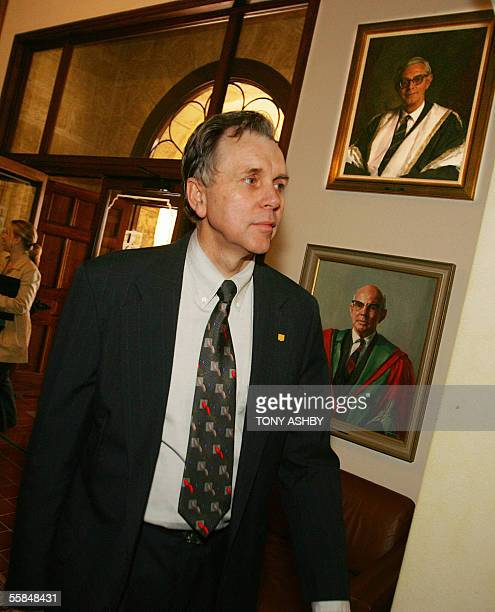 Nobel laureate Professor Barry Marshall arrives for a press conference at the University of Western Australia after he and Dr Robin Warren were...