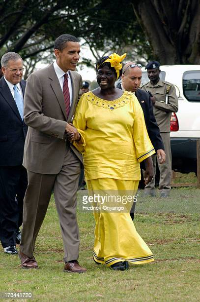 Nobel Laureate Proffessor Wangari Maathai and the United States of America Senator Barrack Obama arrive at the Uhuru Park Freedom Corner on Monday,...