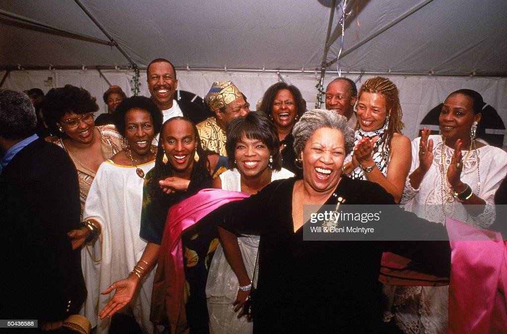 Nobel laureate Toni Morrison (C) accepting the applause of partygoers Susan Taylor, Rita Dove, Oprah Winfrey, Angela Davis, Maya Angelou & others; Winston-Salem.