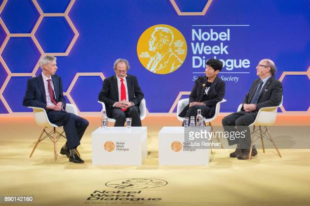 Nobel laureates Michael Levitt and Frank Wilczek along with Helga Nowotny founding member of the European Research Council hold a panel discussion...