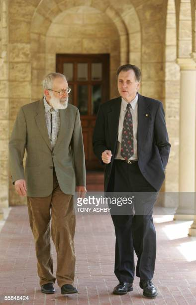 Nobel laureates Pathologist Dr Robin Warren and Professor Barry Marshall walk to a press conference at the University of Western Australia as they...