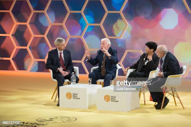 Nobel laureates Peter Doherty and Joseph Stiglitz along with Helga Nowotny founding member of the European Research Council hold a panel discussion...