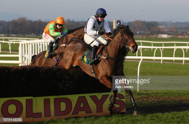 Nobel Leader ridden by Ben Poste clears the last fence on their way to winning The Roa/racing Post Owners' Jackpot Handicap Steeple Chase at Bangor...