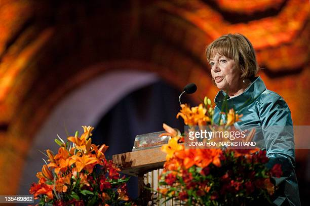 Nobel Literature laureate Swedish Thomas Transtromer's wife Monica delivers a speech at the Nobel banquet in the Stockholm City Hall on December 10...
