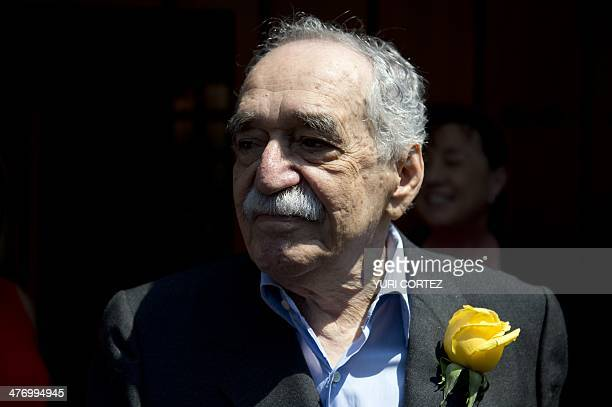 Nobel Literature prizewinning writer and journalist Colombian Gabriel Garcia Marquez sings the traditional birthday song with journalists while...