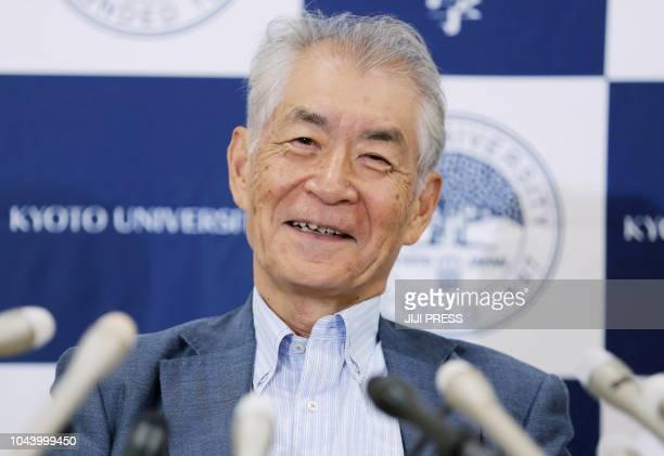 Nobel Medicine Prize winner professor Tasuku Honjo holds a press conference in Kyoto on October 1 2018 The Japanese scientist who on October 1 won...